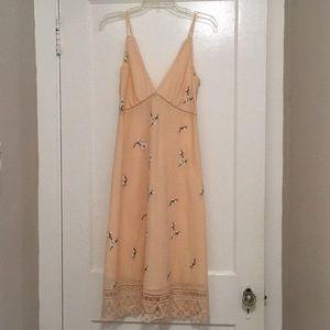 BB Dakota Haleigh Peach Embroidered Midi Dress